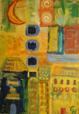 Zu hell zum Schlafen. Acryl auf Canvas, 70x100 cm